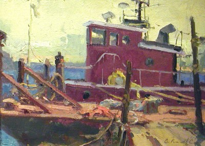 "G Russell Case  - ""Cape Fear Tug"", 9x12, Oil"