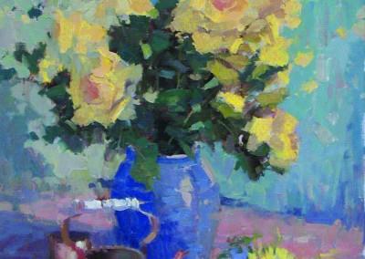 """John Poon - """"Jenny's Roses"""", 30x24, oil SOLD"""