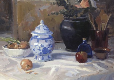 "John Poon - ""Still Life with Onions"", 20x24, oil"