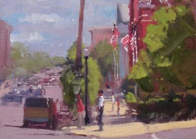 """Randall Sexton - """"Second Street Crosswalk"""", 20x16, Oil"""