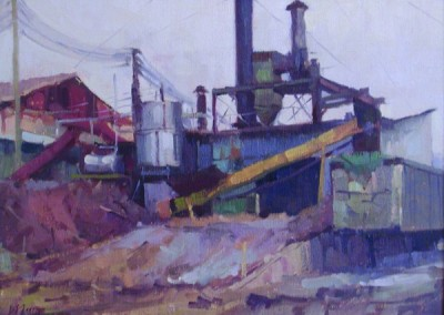 "Larry Moore - ""Lumber Yard"", 12x16, Oil, Sold"