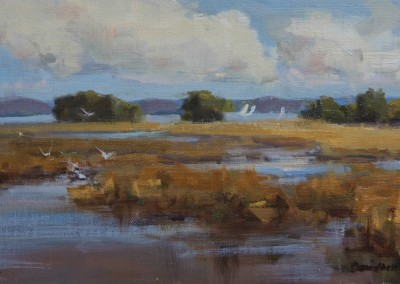 "Bill Davidson - ""Afternoon Marsh Glow"", 8x16, price 1185"