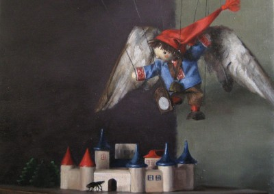"Tanya Harsch - ""Sebbie Flying over the City"", 15x18, price 2300"