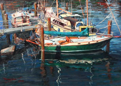 "Yan Sun - ""Boats at the Harbor"", 24x36, $3600 Bronze Medal Winner"