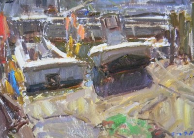 "Tim Bell - ""Crowded Wharf"", 12x16, Oil, Sold"