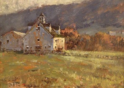 """Roger Dale Brown - """"Farm at Herns Mill Rd"""", 12x16, oil SOLD"""
