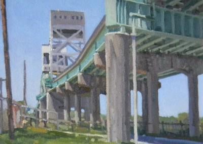 "Robert Morin Isley - ""Cape Fear River Bridge"", 9x12, Oil, SOLD"