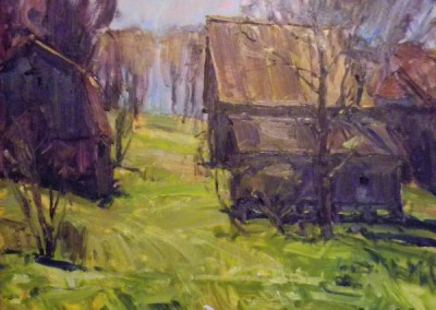 "Tim Bell - ""Barns After Rain"", 16x20, Oil"