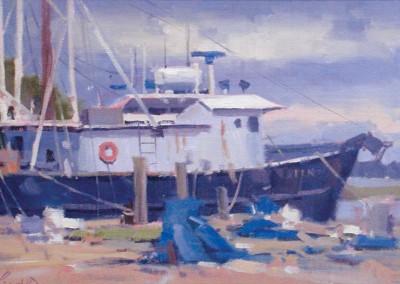 "John Poon - ""Varnhamtown Docks"",  10x17,  acrylic"