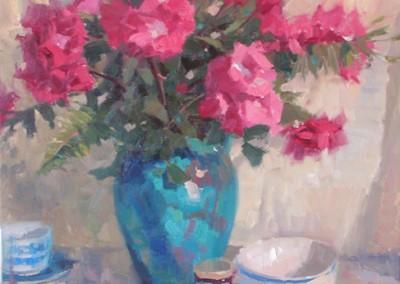 """John Poon - """"Garden Roses"""", 30x24, oil  SOLD"""