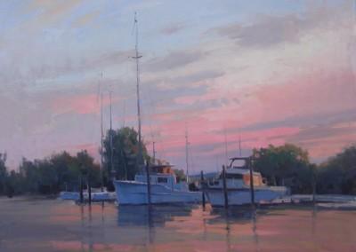 """John Poon - """"Marina Sunset"""",  20x24, oil"""