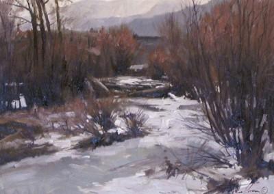 John Poon - Winter Stream, 12x16, SOLD