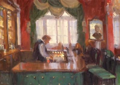 "Larry Moore - ""4:30 Lobby Bar"", 15x30, Oil, Sold"