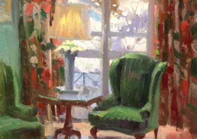 "Larry  Moore - ""Snowy Day at the Greenbrier"", 16x12, Oil, SOLD"