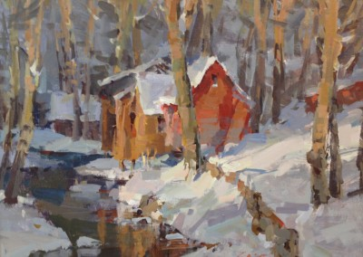 "Steve Songer - ""Sheds at The Hermitage"", Acrylic, SOLD"