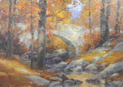 "Steve Songer - ""At Atkins Stream"", 48x48, Oil, sold"