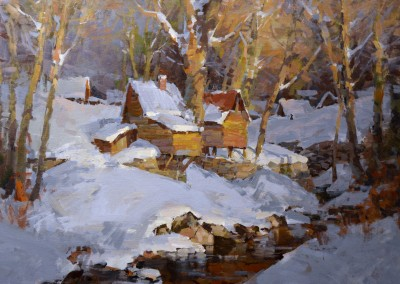 "Steve Songer - ""Sheds at Hermitage Bend"", 30x36, arylic"