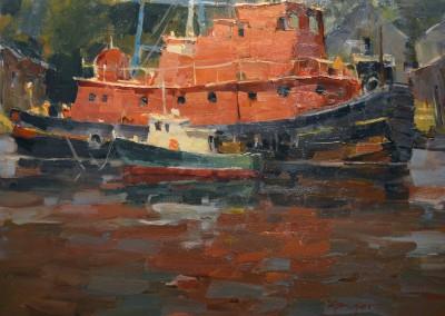 """Steve Songer - """"Tug"""", 11x14, Oil"""