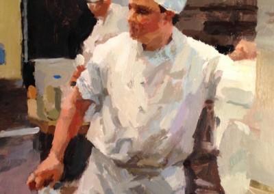 "Cameron Smith - ""Chef"", 12x12, Acrylic, SOLD"