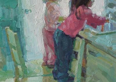 "Cameron Smith - ""Washing Carrots"", 12x16, Acrylic, SOLD"