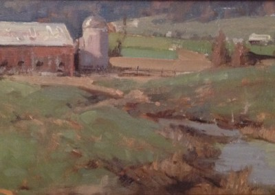 """Roger Dale Brown - """"Valley Farm"""", 8x16, Oil, Sold"""