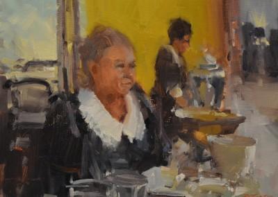 "Randall Sexton - ""Doris At Tea"", 12x16, Oil"