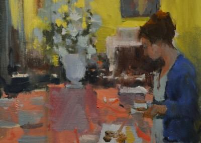 """Randall Sexton - """"Tea Time"""", 12x12, Oil"""