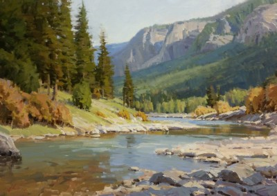 "John Poon -  ""American Summer, Hoback River"", 24x36, acrylic, SOLD"