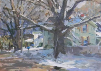 "Charles Movalli - ""Melting Snow"", 30 x 30, Acrylic, SOLD"