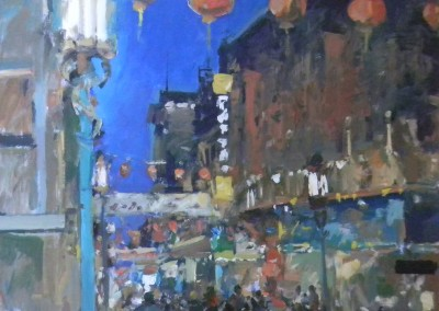 """Charles Movalli - """"Chinatown"""", 36x36, Acrylic, SOLD"""