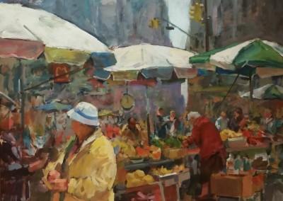 "Charles Movalli - ""City Market"", 48x48, Acrylic, SOLD"