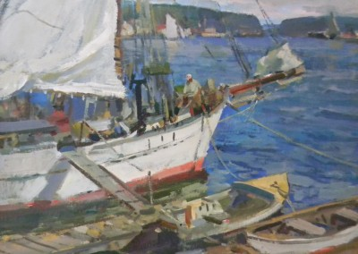 "Charles Movalli - ""Drying Sail"", 36x36, Acrylic, SOLD"