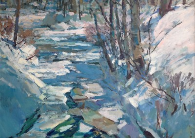 """Charles Movalli - """"First Thaw"""", 48x48, Acrylic, SOLD"""