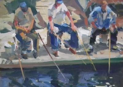 "Charles Movalli - ""Fishermen"", 16x20, Acrylic, SOLD"
