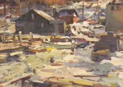 """Charles Movalli - """"Frozen Harbor"""", 20x24, Acrylic, SOLD"""