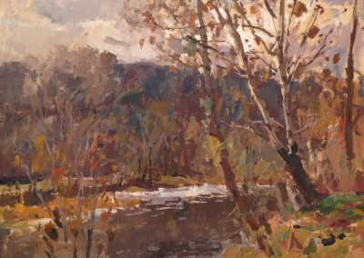 "Charles Movalli - ""By the River"", 24x30, acrylic, SOLD"