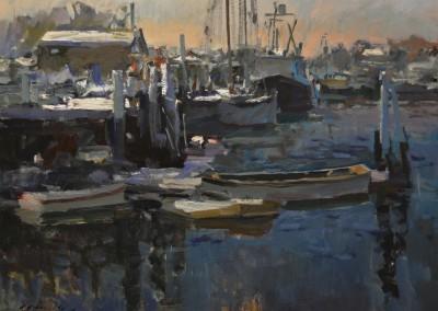 "Charles Movalli - ""Gloucester Winter"", 30x40, acrylic, $8500"