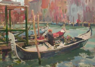 "Charles Movalli - ""Gondolas"", 16x20, Acrylic, SOLD"