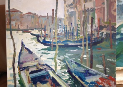 "Charles Movalli - ""Gondolas"", 20x24, Acrylic, SOLD"