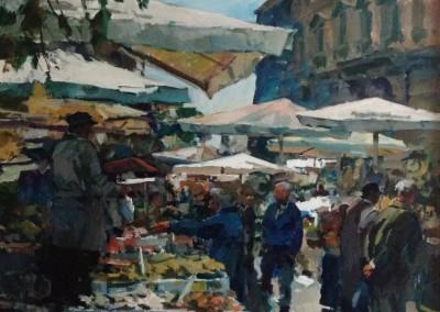 "Charles Movalli, ""Market, Rome"", 48x60, Acrylic, SOLD"