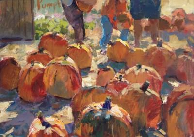 "Charles Movalli - ""Pumpkins"", 36x36, Acrylic, SOLD"