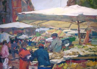 "Charles Movalli - ""Roman Market"", 36x48, Acrylic, SOLD"