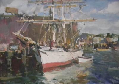 "Charles Movalli - ""Schooner"", 20x24, Acrylic, SOLD"