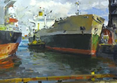 "Charles Movalli - ""Ships"", 36x36, acrylic, $8900"