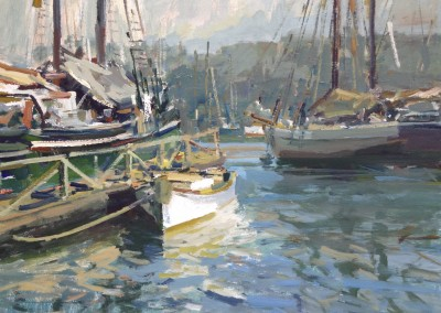 "Charles Movalli - ""Morning Harbor"", 24x30, acrylic, SOLD"