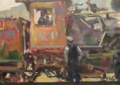 "Charles Movalli - ""Steam Power"", 30x30, Acrylic, SOLD"