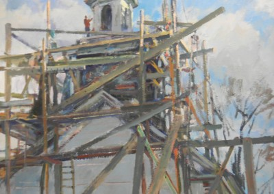 "Charles Movalli - ""Steeple Scaffold"", 36 x 36, Acrylic, SOLD"