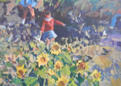 """Charles Movalli - """"Sunflowers"""", 24X30, Acrylic, SOLD"""