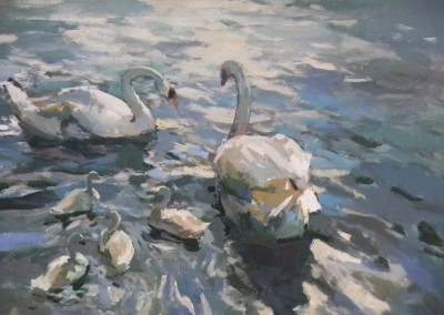 "Charles Movalli - ""Swans on the Thames"", 36x48, Acrylic, SOLD"