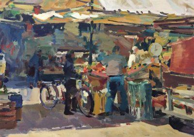 "Charles Movalli - ""Saturday Market"", 36x36, acrylic, $8900"